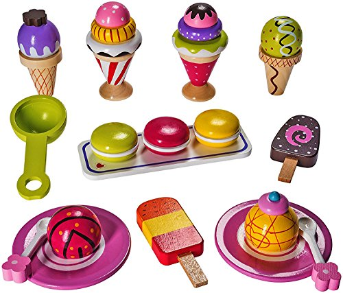 Ice Cream Play Food (Ice Cream Pretend Playset Made From 100% Real Wood By Dragon Drew (25 PC Set))