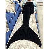 Mermaid Blanket Tail Adult Mermaid Sleeping Bags All Seasons with Scales Knitted For Adult Living Room Blanket Camping Sleeping Bag.--By ZQL (Black)