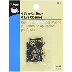 Dritz 93-65 Sew On Hook & Eye Closures Nickel 5/8-Inch, 4-Piece