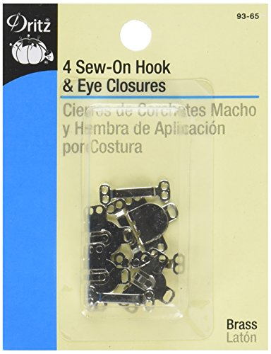 Dritz 93-65 Sew On Hook & Eye Closures Nickel 5/8-Inch, 4-Piece (Closure Four)