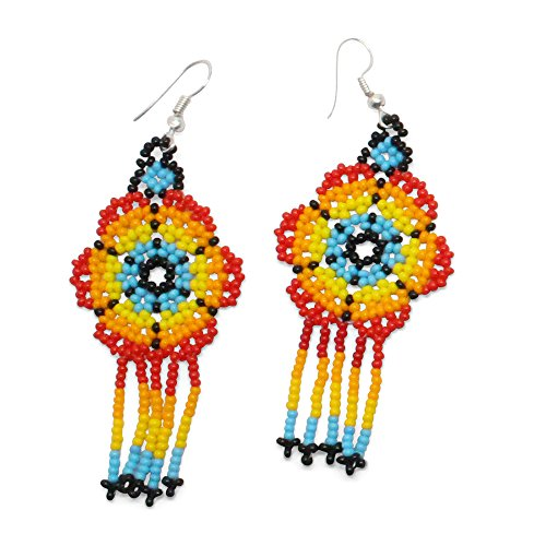 Ethnical Art Beaded Earrings Hand Crafted Fantasy Beads  Metal Dangle Hook – Bright Sun