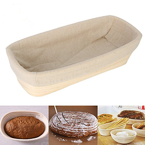 Jeteven 12 inch Banneton Bread Proofing Basket with Liner, Oval Perfect Brotform Proofing Rattan Basket for Making Beautiful Bread by Jeteven