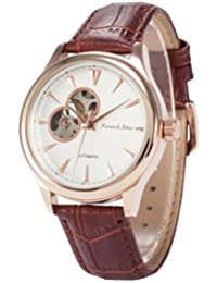 KS Men's KS300 Analog Skeleton Dial Brown Leather Band Automatic Mechanical Watch