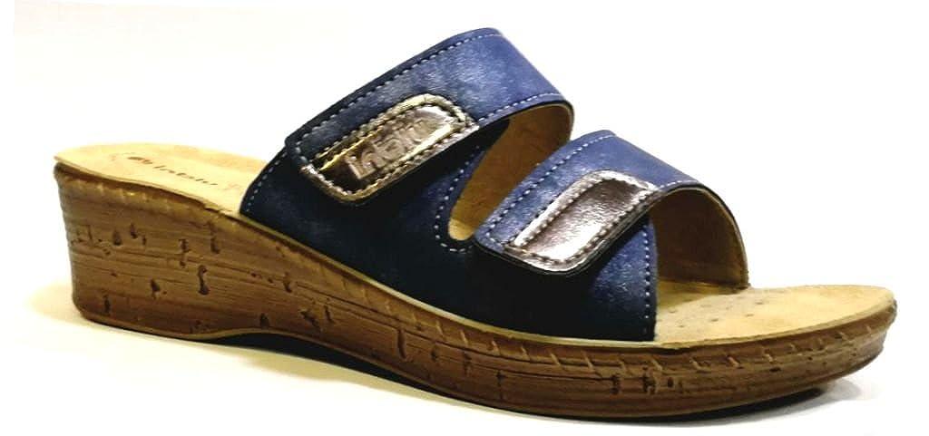 INBLU Ciabatte, Pantofole Donna Mod. 26-65 Velcro Blu Linea Benessere -