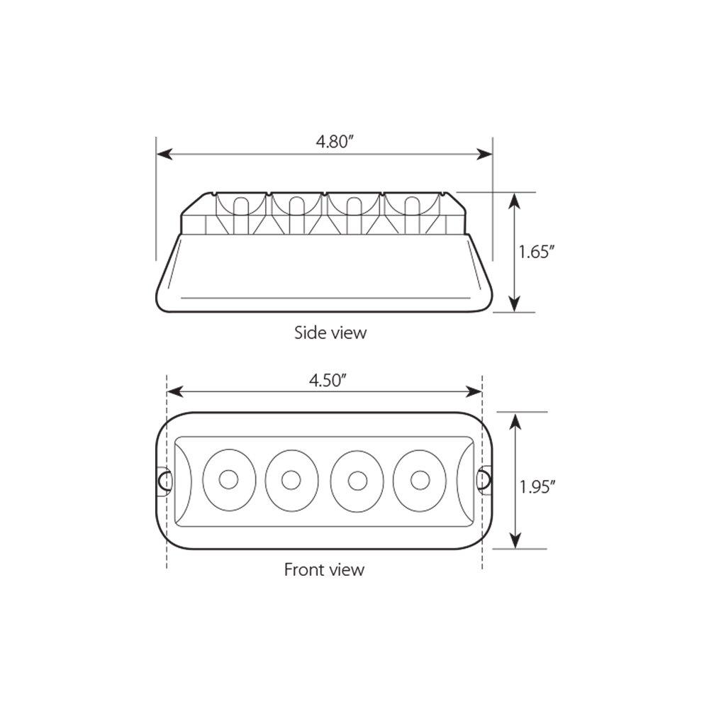 Grand General 76531 Amber Medium Rectangular 4 LED Strobe Light with Clear Lens