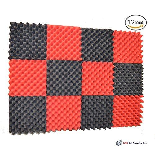 12-pk-25x12x12-red-charcoal-soundproofing-foam-acoustic-eggcrate-tiles-studio-foam-sound-wedges
