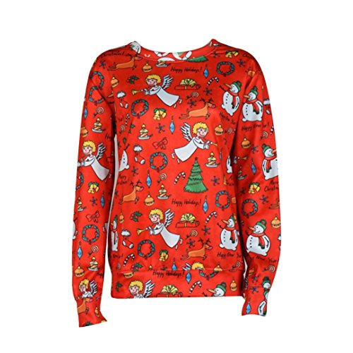 HANYI Women Christmas Printed Red Long Sleeve Pullover Loose Tunics Sweatshirt (Angel, M)