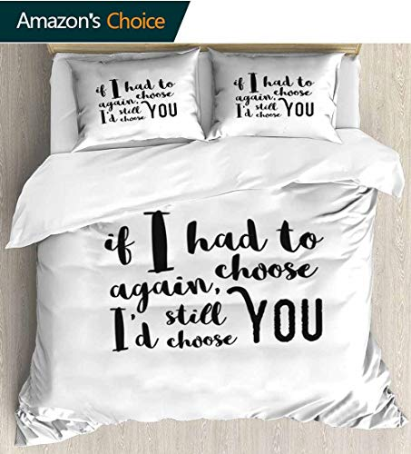 Romantic 3 Piece Quilt Coverlet Bedspread,If I Had to Choose Again Id Still Choose You Inspirational Brush Calligraphy Bedding Set for Kids,Boys and Teens 80
