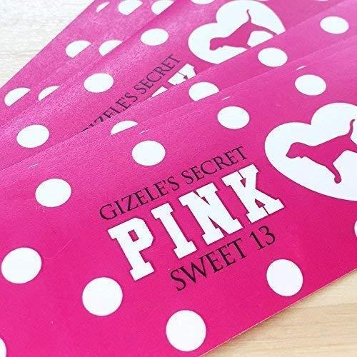 20 VS Pink Polka Dot Waterproof Bottle Labels