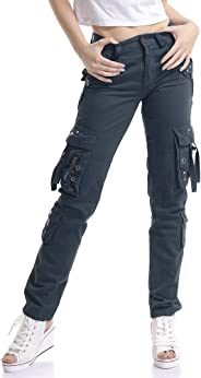 OCHENTA Women's Utility Cargo Pants Multiple Pockets US Size 0-14