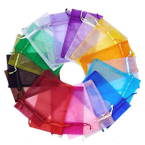 (Wuligirl 100 PCS 5X7 inches Blend Color Drawstring Organza Bag Wedding Baby Shower Party Candy Jewelry Pouches Bags (100 pcs Mix, 5X7