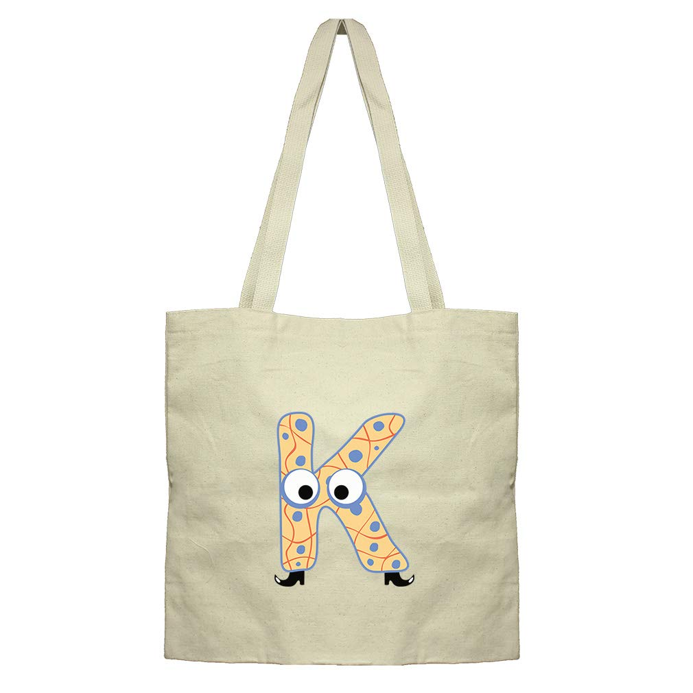 K With Boots Letter Alphabet Cotton Canvas Flat Market Tote Bag