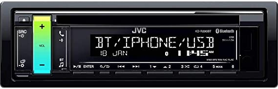 JVC KD-R890BT 1-Din In-Dash Car CD Receiver compatible with w//Bluetooth////USB//AUX//iPhone//Android