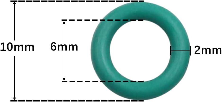 X AUTOHAUX 20pcs Vert Caoutchouc Joint Torique Joint /étanch/éit/é Rondelle pour Voiture 10mm x 2mm