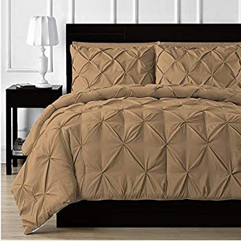 Image of Amuze Bedding Soft Reliable Luxurious King/Cal-King Taupe 3 Pc Pinch Pleated Duvet Cover 800 TC Comfy Bedding Set, Seasonable Comforter Cover_94' x 104' in Home and Kitchen