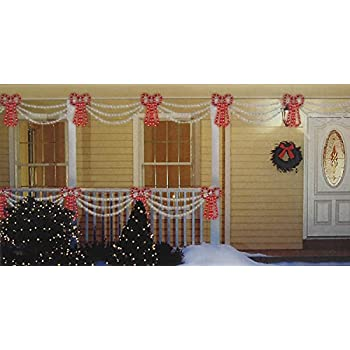 sienna set of swag style christmas lights with red shimmering bow and white wire - Christmas Swag Lights