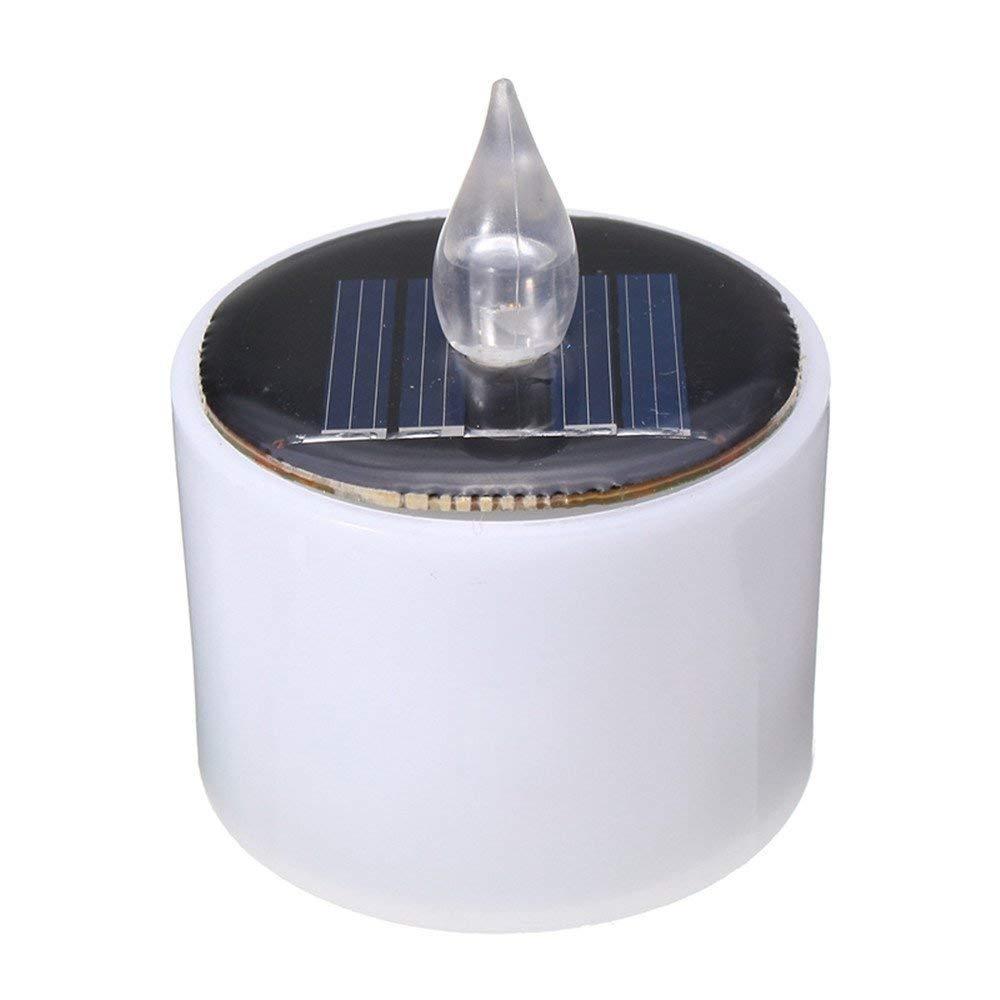 Ruiyue Energy Battery Warm Flicker Flameless LED Solar Light Solar Powered Flashing Candle Tea Light Wedding Home Decor Led (Color : Cool White)