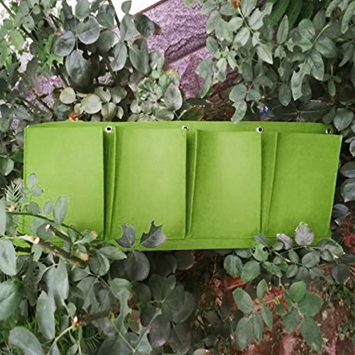 Shni 4 Pockets Wall Hanging Planter Bags, Vertical Horizontal Garden Wall Planter, Garden Seedling Plant Grow Bag for Indoor/Outdoor Strawberry Herb Plant(Vertical,Green)