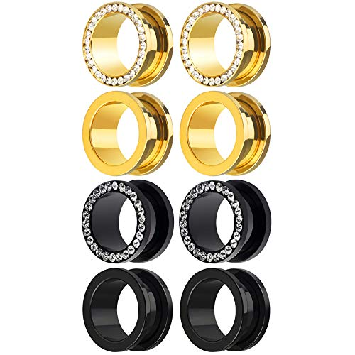 Awinrel 8 Pieces Black Gold Plated Stainless Steel Gem Rhinestones Screw Fit Ear Plug Gauges Flesh Tunnels Eyelet Stretcher Body Piercing Jewelry 10mm