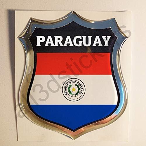 All3dstickers Pegatina Paraguay Relieve 3D Escudo Bandera Paraguay Resina Adhesivo Vinilo: Amazon.es: Coche y moto