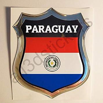 All3dstickers Pegatina Paraguay Relieve 3D Escudo Bandera Paraguay Resina Adhesivo Vinilo