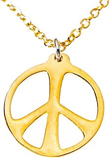 """product image for Medium Peace Symbol Gold-Dipped on 18"""" Rolo Chain"""
