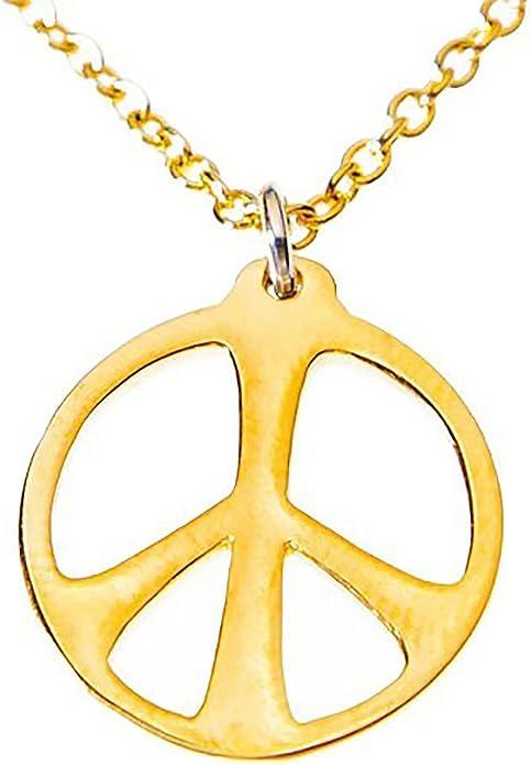 Tamaño mediano paz símbolo gold-dipped de 45 cm Rolo cadena ...