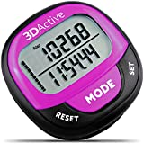 3DActive 3D Pedometer PDA-100| Best Pedometer for Walking with 30-Days Memory. Accurate Step Counter, Calorie Counter, Distance Miles/Km & Daily Target Monitor. (Black/Magenta)
