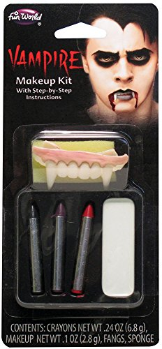 Fun World Count Vampire 6pc One Size Makeup Kit, White Black Red - Kids Vampire Makeup