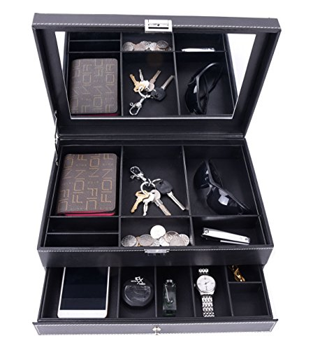 Autoark Leather Dresser Valet Jewelry Watch Organizer,Desktop Organizer for Keys,Coins,Wallet,Smartphone,Watches,Sunglasses and Accessories,Metal Buckle & Large Mirror,Big-Capacity,Black,AW-027 by Autoark (Image #3)