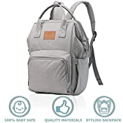 Diaper Bag Backpack - Grey Waterproof Diaper Bags for Girls or Boys - Large Baby Bag for Mom Dad Travel - Multi-Function Insulated Diaper Bag - Changing Mat Included - Nappy Organizer by Malencutie