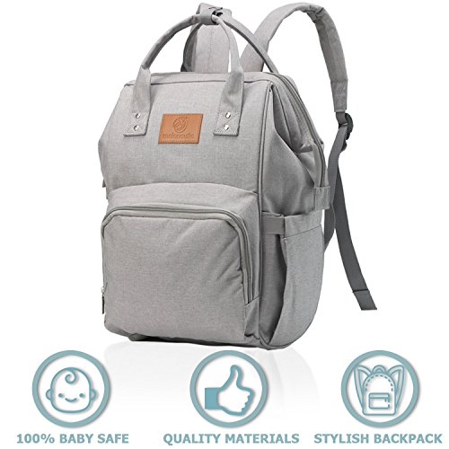 Diaper Bag Backpack – Grey Waterproof Diaper Bags for Girls or Boys – Large Baby Bag for Mom Dad Travel – Multi-Function Insulated Diaper Bag – Changing Mat Included – Nappy Organizer by Malencutie