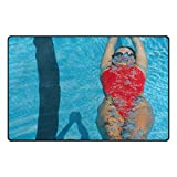 LEEZONE Women's Diving Swimming Printing Rectangle Floor Mat Carpet
