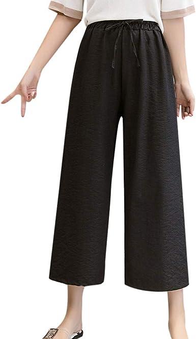 cinnamou Pantalones Mujer, Pantalones De Lino Y Algodon Cintura ...