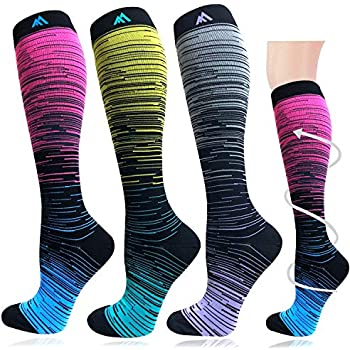 3 Pairs Compression Socks for Women&Men (20-30mmHg)- Best for Running, Travel,Cycling,Pregnant,Nurse, Edema