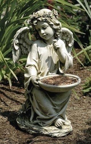 Roman 14″ Joseph's Studio Angel Bird Bath or Feeder Outdoor Garden Statue
