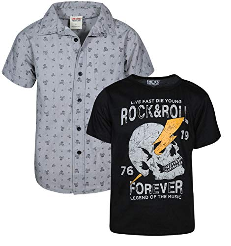 Smith's American Boys Woven Short Sleeve and Button Down Shirt Set, Grey/Black, Size 10/12' (Nice Youth T-shirt)