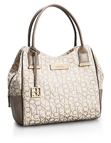 Calvin Klein Candice Lurex Logo Jacquard Center Zip Hobo Handbag (Embroidered Leather Hobo Bag)