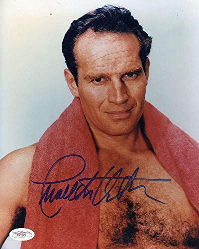 CHARLTON HESTON JSA Coa Hand Signed 8x10 Photo Autograph