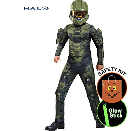 [Boys Halo Master Chief Classic Costume Halloween Trick or Treat Safety Kit X-Large] (Master Chief Halo Costumes For Kids)