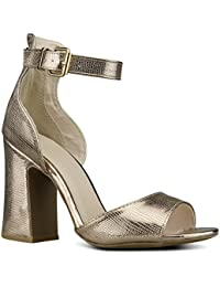 37792c8e2c29 Women s Strappy Open Toe High Chunky Heel - Sexy Stacked Heel Sandal - Cute  One Band