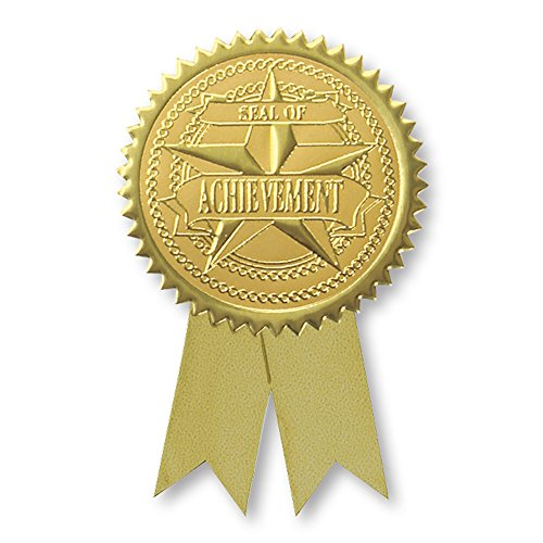 Embossed Seal of Achievement Gold Foil Ribbon Certificate Seals, 2 Inch, Self Adhesive, 102 - Gift Certificates Embossed