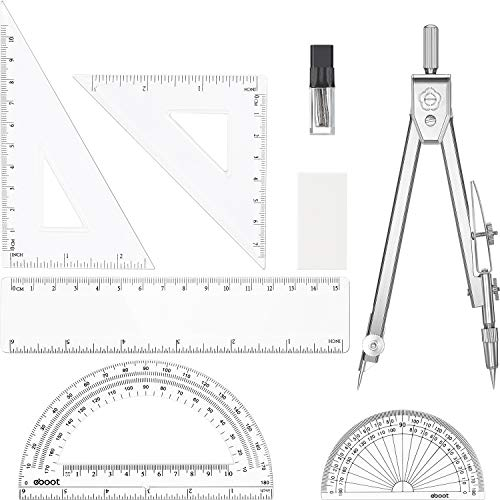 7 Pieces Math Geometry Tools Drawing Compasses and Ruler Set Protractor Geometry Tools Set for ()