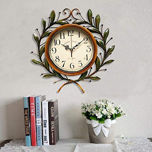 Branch Wrought Iron (IANXI Home European Wrought Iron Olive Branch Wall Clock Stylish Pastoral Silent Wall Clock (Color : Brown))