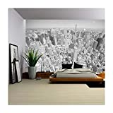 wall26 - Black and White Toned Aerial View of Manhattan, New York City, Usa. - Removable Wall Mural | Self-adhesive Large Wallpaper - 100x144 inches