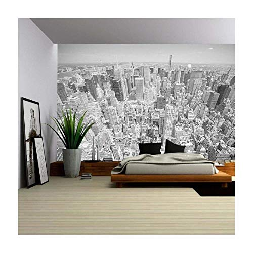 wall26 - Black and White Toned Aerial View of Manhattan, New York City, Usa. - Removable Wall Mural | Self-adhesive Large Wallpaper - 100x144 inches by wall26 (Image #5)