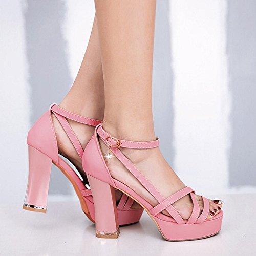 Donna Tacco Pink Blocco Sandali Elegante Plateau Scarpe RAZAMAZA Con Con xAqBwSg