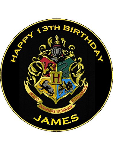 """7.5/"""" PERSONALISED EDIBLE ICING CAKE TOPPER HARRY POTTER HOGWARTS CREST WHITE"""