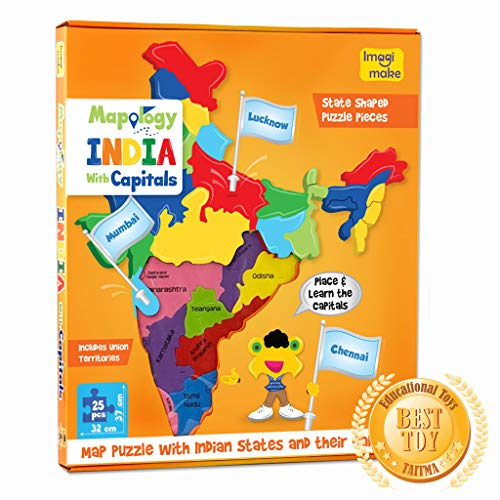 Imagimake Mapology India with State Capitals - Educational Toy and Learning Aid for Boys and Girls - Map Puzzle - Jigsaw Puzzle 2