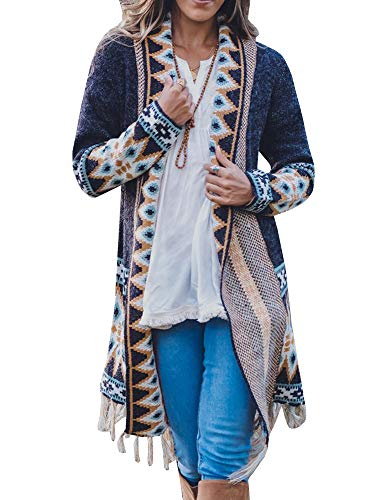 Misassy Womens Boho Open Front Long Cardigans Sweater Loose Long Sleeve Embroidery Tassels Kimono Duster - Cardigan Embroidered Sweater